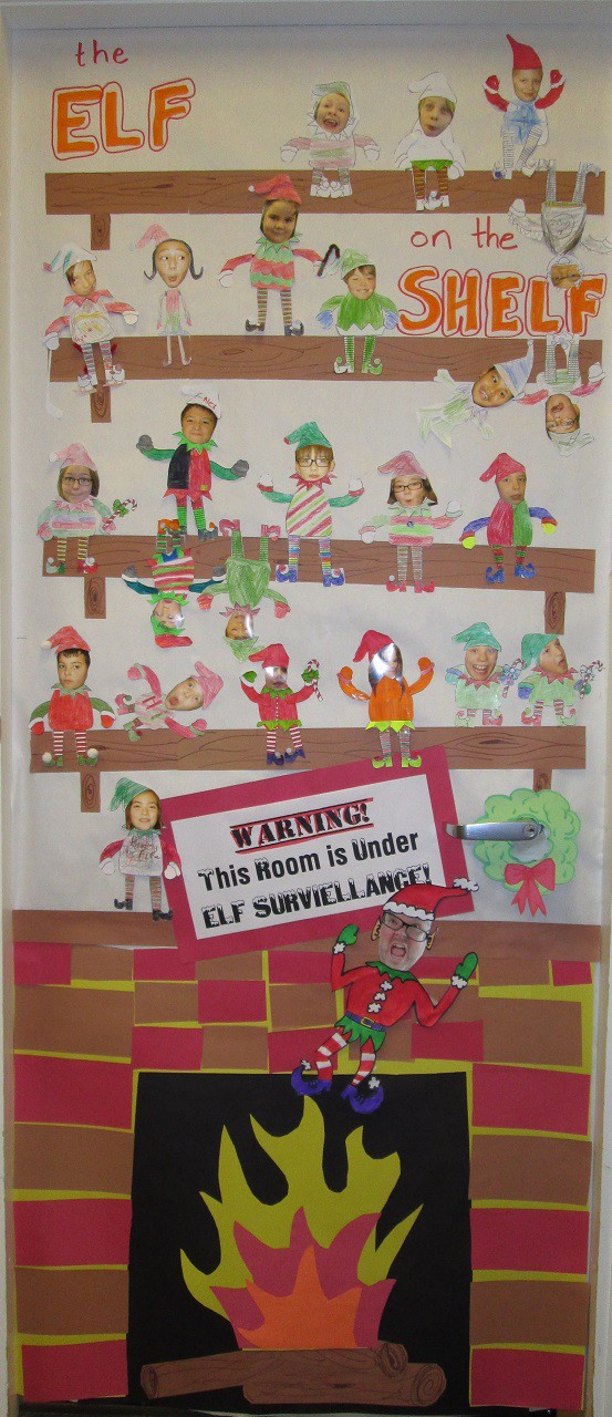 Our class elf on a shelf door decorations mr ogren for Elf door decoration